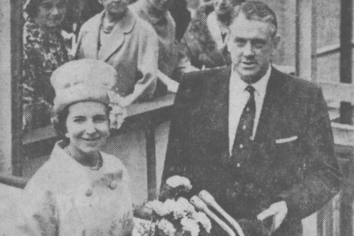 Mrs D R Rooper, who performed the ceremony at the launching of the new Port Line cargo vessel with Dr Denis Rebbeck, deputy managing director of Harland & Wolff Ltd in June 1961.